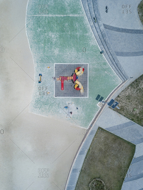 Aerial view of playground at beach