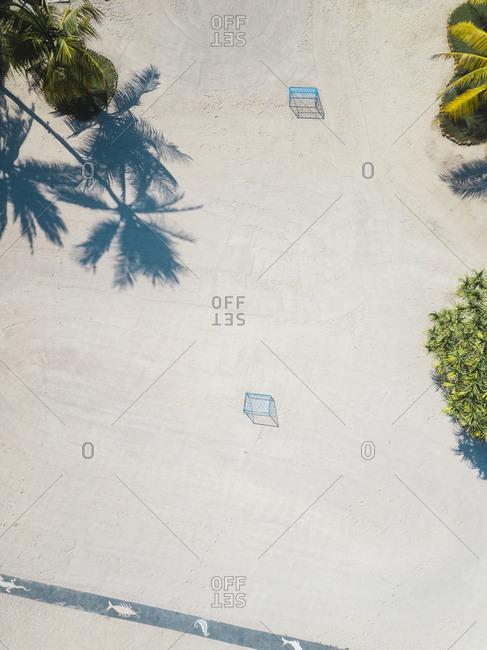 Aerial view of beach soccer goals