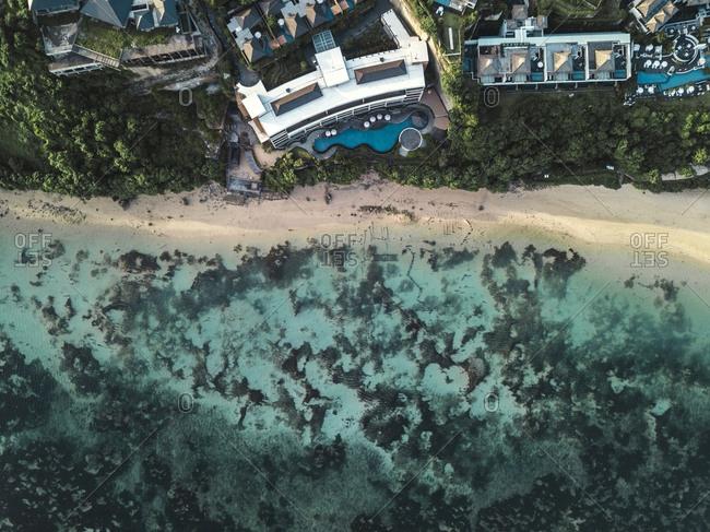 Aerial view of hotel facility at nusa dua beach