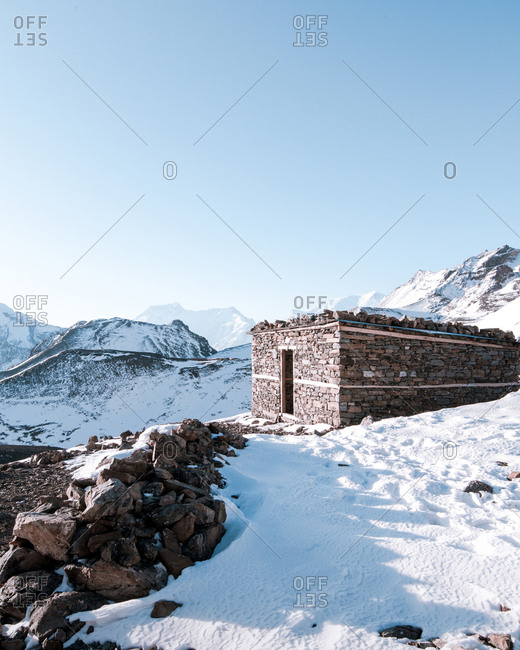 Old building at high altitude in the himalayas