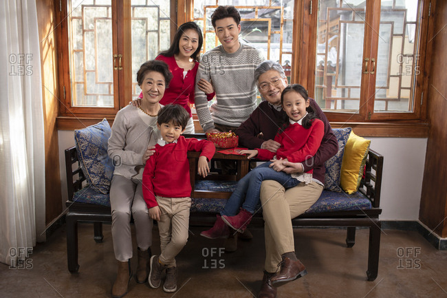 Happy Chinese family celebrating Chinese New Year