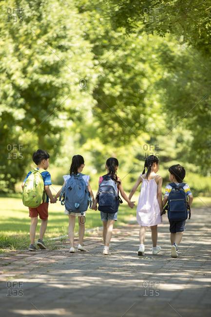 Chinese children going to school