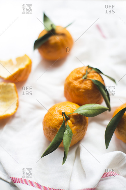 High angle view of oranges on napkin