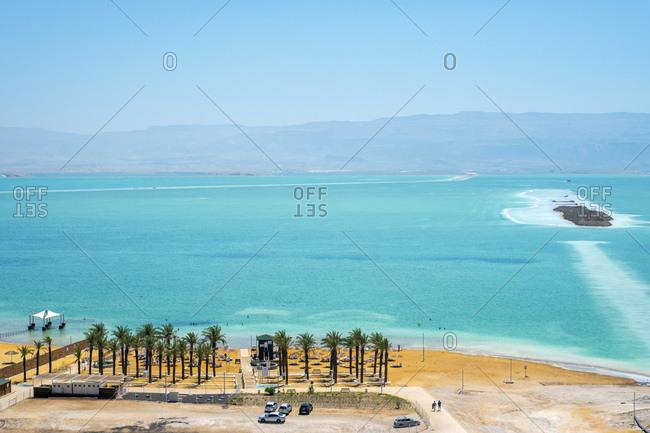 Beach on the dead sea in resort town of en bokek, israel. elevated view