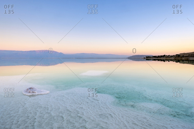 Salt formations on the dead sea at sunset, eilat, israel