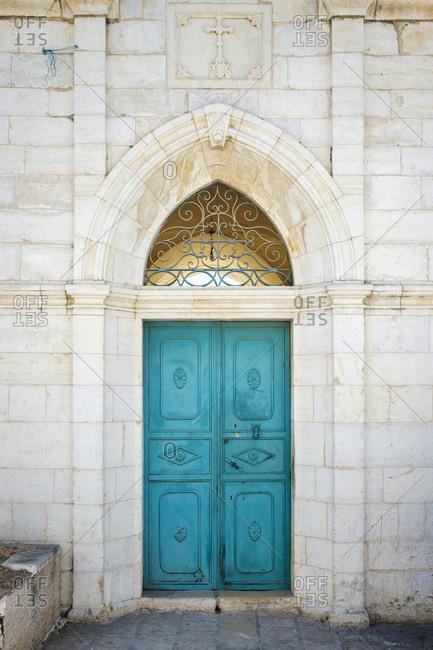Door of historic building in old town bethlehem, west bank, palestine
