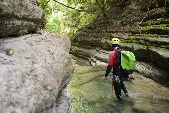 Canyoning furco canyon in pyrenees.