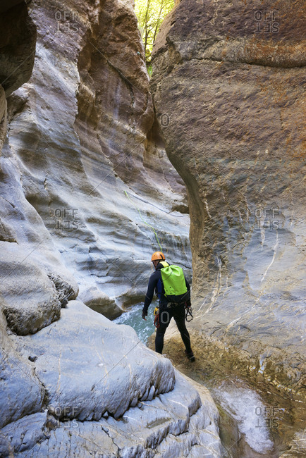 Canyoning gorgol canyon in pyrenees.
