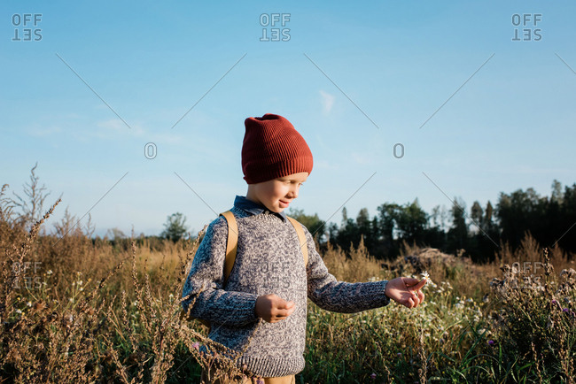 Young school boy walking home through a field picking flowers