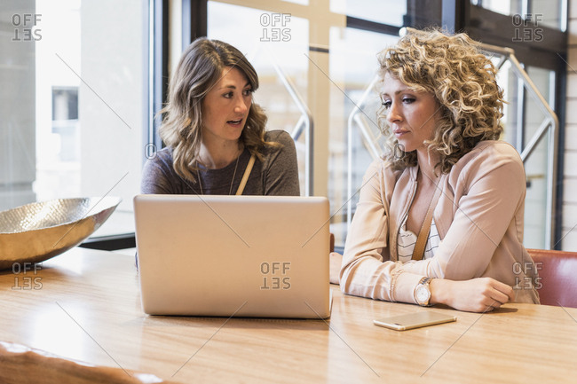 Businesswoman discussing over laptop computer with female colleague in hotel