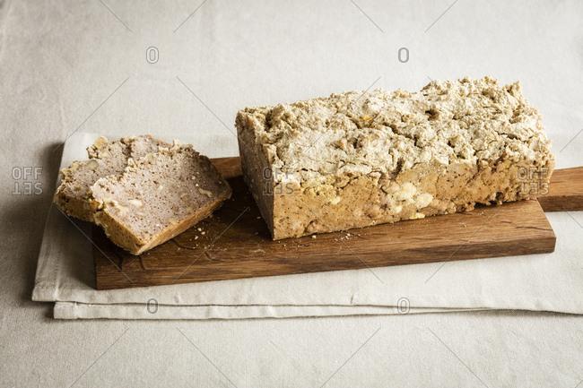 Loaf of home-baked gluten free buckwheat bread