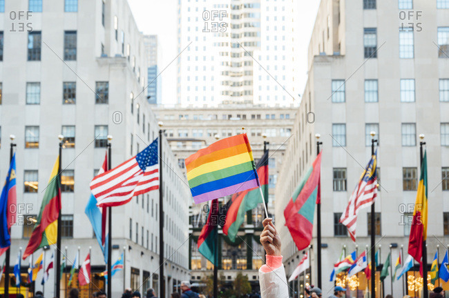 Hand waving LGBT flag in NYC- USA