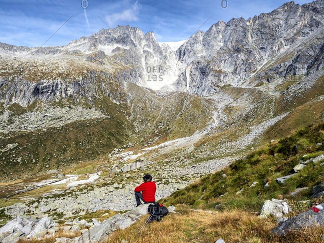 Italy- Brescia province- Alamillo Alps- Val Solano- Glacier- hiker looking to glacier
