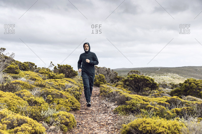 Man jogging in rural scene- Cape Point- Western Cape- South Africa