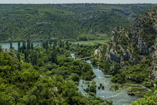 Croatia- Green scenic landscape of Rosko Slap National Park in summer