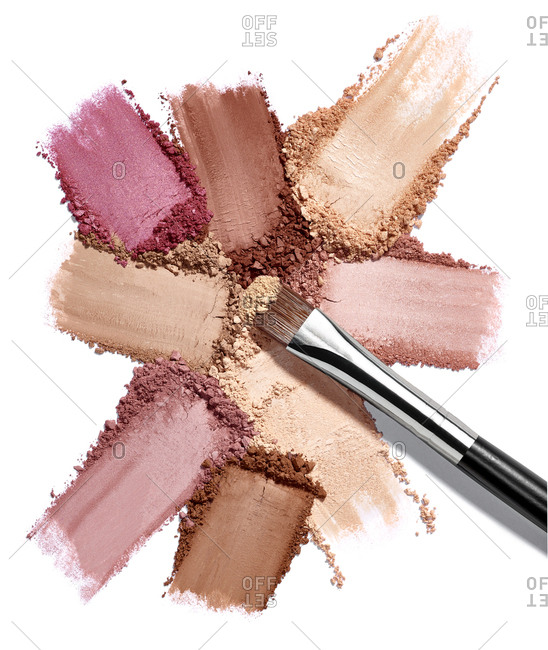 Close up of face powder make up on white background
