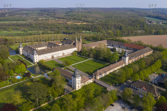 Aerial view of Princely Abbey of Covey- Germany