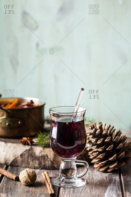 Close up of mulled wine in a glass
