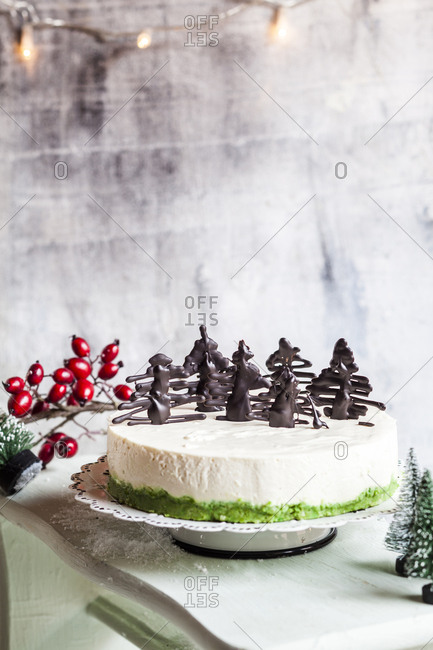 No-bake cheesecake- decorated with chocolate Christmas trees