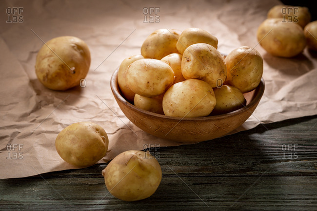 Spring potatoes in a bowl