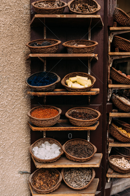 Spices in baskets at Dubai soul, United Arab Emirates