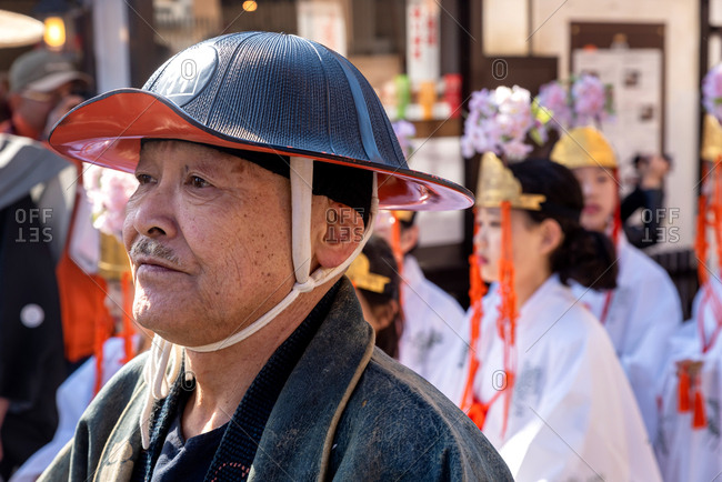 April 15, 2019: Japanese people wearing traditional clothes during annual Takayama festival. Takayama, Japan