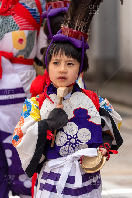 April 15, 2019: Japanese child wearing traditional clothes during annual Takayama festival. Takayama, Japan