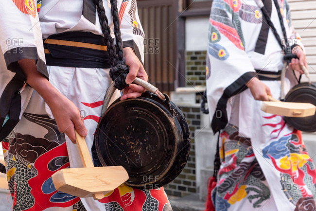 April 15, 2019: Detail of japanese people wearing traditional clothes during annual Takayama festival. Takayama, Japan