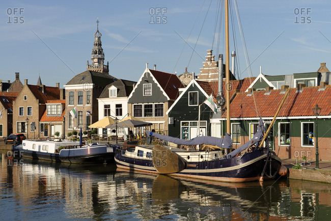 boats in the harbor of Monnickendam, Noord Holland, Ijsselmeer the Netherlands,