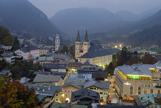 View at Berchtesgaden in the dusk, Upper Bavaria, Bavaria, Germany