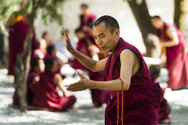 October 1, 2016: Monks dancing at the Sera monastery in Tibet
