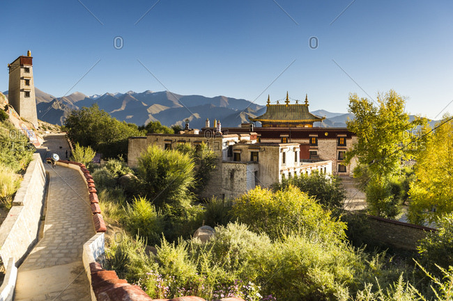 Details and landscape of the Sera monastery in Tibet