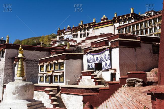 Details of Ganden Monastery in Tibet