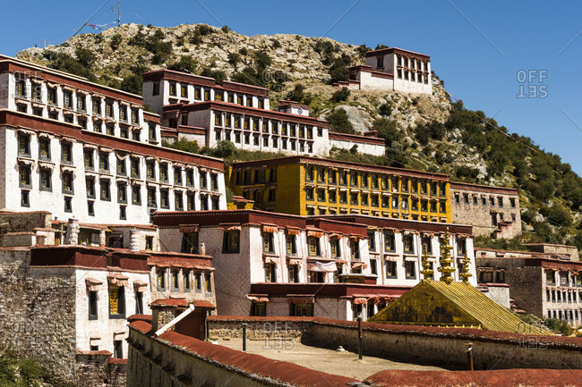 Architecture at the Ganden Monastery in Tibet