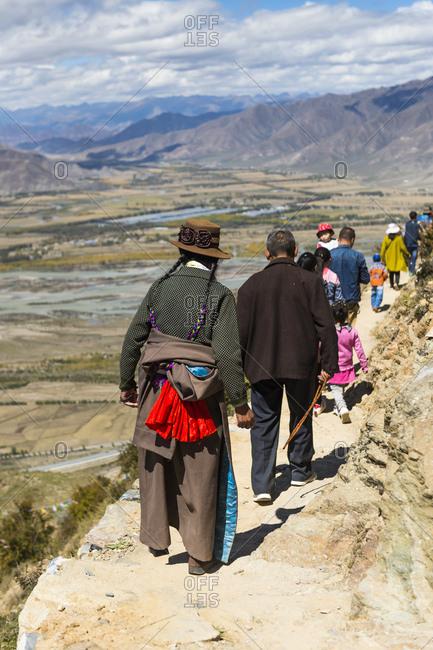 October 3, 2016: Tibet, Kora around the Ganden Monastery, believers