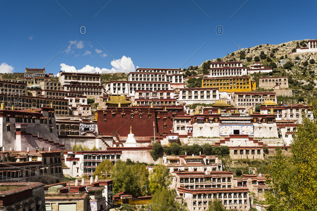 Wide angle view of Ganden Monastery in Tibet