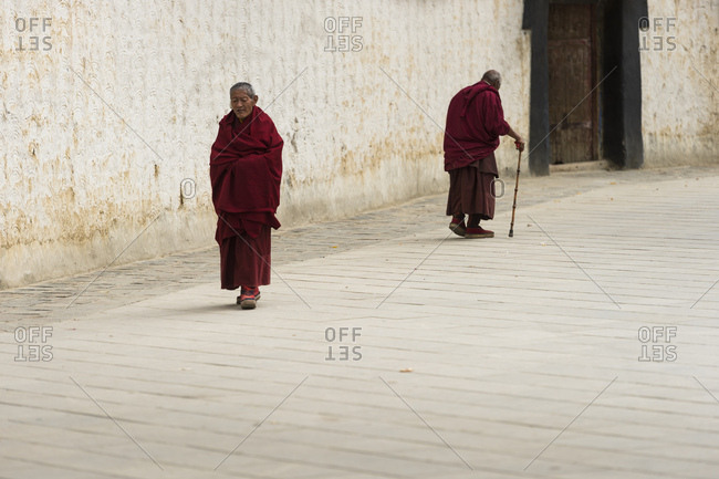 October 6, 2016: Tibet, Shigatse, monks in the Tashi Lhunpo Monastery