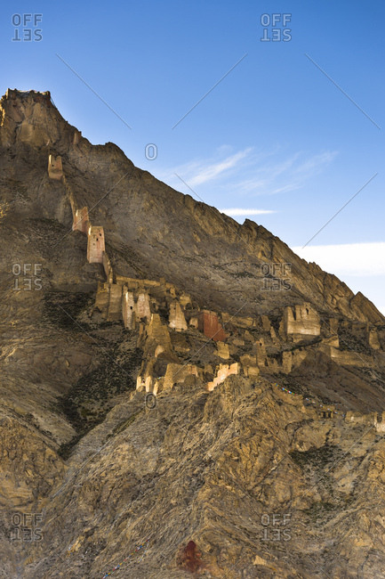 Skekar Dzong in the mountains of Tibet