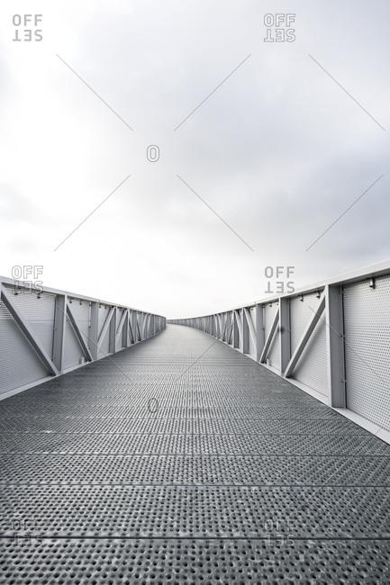 Empty steel bridge for pedestrians