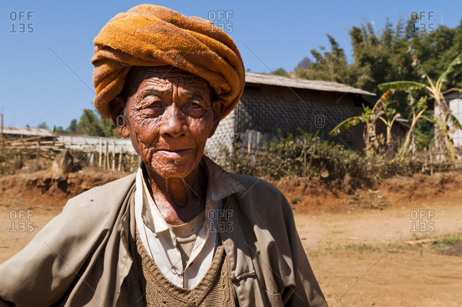 January 24, 2013: Old man in a village between Kalaw and Inle lake