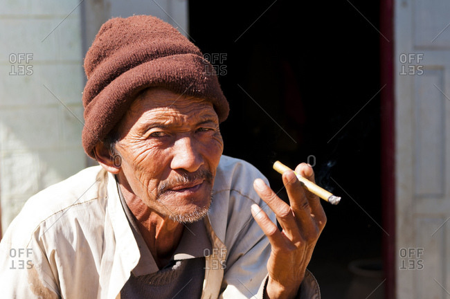 January 23, 2013: Villager between Kalaw and Inle lake