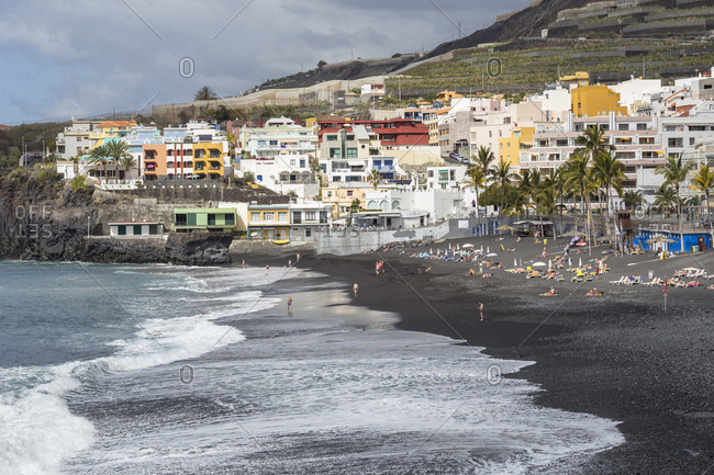 February 9, 2017: Beach with black Sand, Puerto Naos, La Palma, Canary islands, Spain