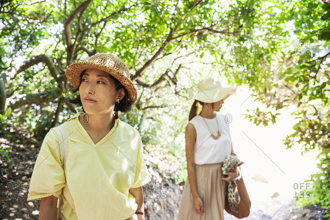 Two Japanese women wearing hats hiking in a forest.