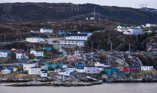 Evening light on the town of Rose Blanche, Newfoundland