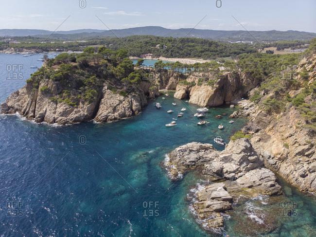 Landscape view of Palamos beach in Costa Brava, Spain