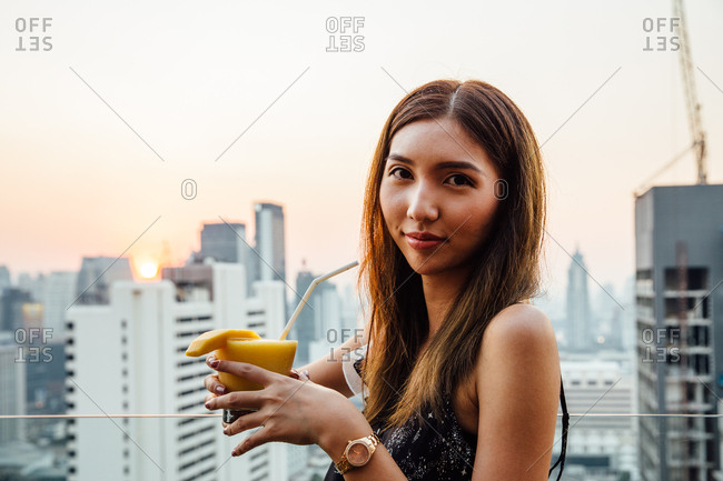 Cocktail Woman at Sunset