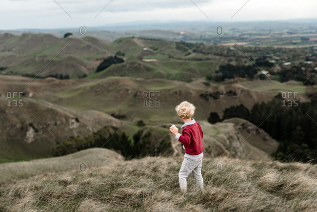 Preschool age boy looking at green hills
