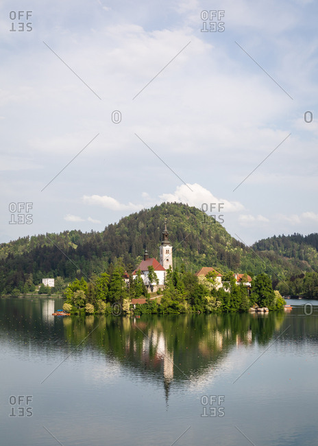 The Pilgrimage Church of the Assumption of Mary (Our Lady of the Lake), located on an island in Lake Bled, Slovenia