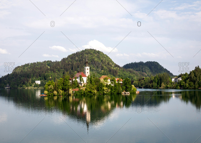 The Pilgrimage Church of the Assumption of Mary, located on an island in Lake Bled, Slovenia