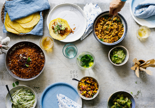Overhead view of taco spread